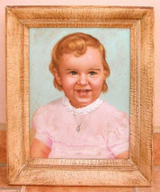 Original 1950's GIRL CHILD Painting/PASTEL Illustration Drawing... Vanit... - $66.00
