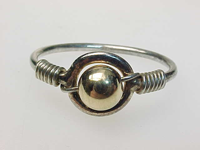 14K Yellow GOLD and STERLING Silver BEAD Ring - Size 9 1/2 - Bead Rotates