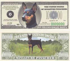 100 Miniature Pinscher Dog Novelty Currency Bills # 323 - $19.79
