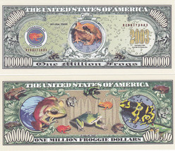 100 Frogs Froggie Tropical Ribbit Million Dollars Novelty Currency Bill ... - $19.79