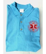 EMT Emergency Medical Technician Star of Life Light Blue Silver S/S Polo... - $26.43