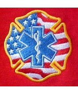 EMT Hoodie L Sweatshirt Medic EMS Rescue Maltese Cross Star of Life Flag... - $32.31