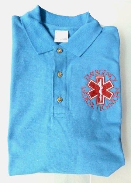 EMT Emergency Medical Technician Star of Life Light Blue Silver S/S Polo Shirt M