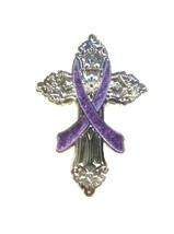 Lavender Awareness Ribbon Pin Religious Cross Cancer Cause Church Inspir... - $13.97