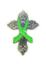 Lime Green Awareness Ribbon Pin Religious Cross Cancer Cause Church Insp... - $12.97