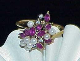 14K .50ct Marquise Rubies Diamond Seed Pearl Ring Antique Size 8.75 - $379.99