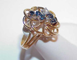 10k 5 Blue Sapphire .15ct Diamond Weave Ring Size 7.5 Yellow Gold Vintag... - $469.99