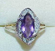 14K Amethyst Marquise 12 Diamond Marquise design Ring Size 7 1/2 - $394.99