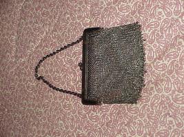 Antique Art Nouveau era silver plate or gun metal chain Mesh Purse bag - $22.99