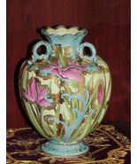 Early Nippon Sky Blue Hand Paint Iris Floral Heavy Gold Moriage 3 Handle... - $399.99