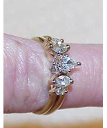 14K .65Ct Diamond Pear Solitaire & Marquise Enhancer Band 2 Ring Set Vin... - $989.99