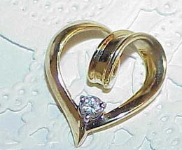 14K .13ct Diamond Solitaire Lace Heart Enhancer Pendant YG Marked .13ct in enhan - $399.99