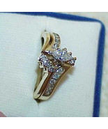 14k .50Ct Marquise Diamond Solitiare 2 Ring Set Enhancer Yellow Gold Vin... - $794.99