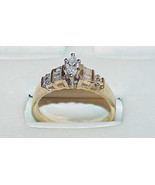 14k .50Ct Marquise Diamond Baguette Ring Sz 8 1/4 Pyramid Diamond clusters - $789.99