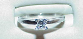 14K .30CT VS Solitaire Princess Cut Diamond Ring White Gold Size 7 RING - $589.99