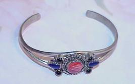 Sterling Cuff Bracelet Lapis Red Quartz Onyx Cabochon Vintage 26.1 Gram ... - $99.99