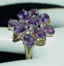 14K 9.00Ct Oval Amethyst Diamond Cocktail Ring Sz 10.75 Floral Loaded wi... - $599.99