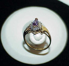 10K Diamond Marquise Amethyst Solitaire Ring Yellow Gold Size 7 Cocktail - $269.99
