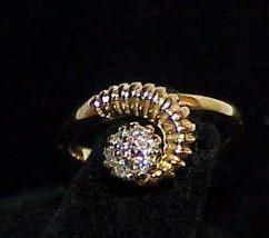 14K Diamond Space Age Modernist Cluster Ring Yellow Gold Sz 6.25 Retro M... - $249.99