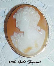 18K Shell Cameo Brooch Pin Antique With Bail for Necklace - $399.99