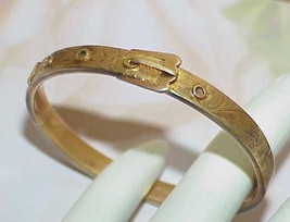 14k Victorian Childs or Baby Buckle Bangle Bracelet Ornate Yellow Gold C... - $489.99