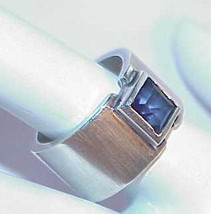 Sterling Silver Amethyst Emerald Cut Band Ring Size 6.5  Hand Made Wide ... - $149.99