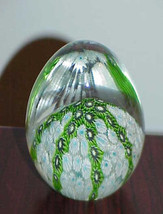 Paperweight Murano Art Glass Millefiore Egg Shpe Blue Green Brown White ... - $119.99