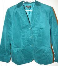 Talbots Women's Peacock Teal Corduroy Lined Jacket Blazer Size 6 Coat Pe... - $49.99
