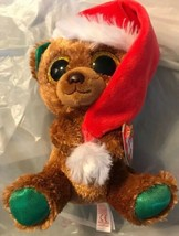"""Ty NICHOLAS Sparkly Brown Bear 6"""" Christmas Beanie Boo New 2018 MWMT Red... - $16.82"""