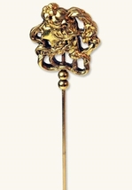 ANTIQUE FINISH NOUVEAU LADY HATPIN - $33.99