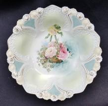 Antique RS Prussia Porcelain Honeycomb Mold Hanging Rose Basket Design Bowl - $95.00