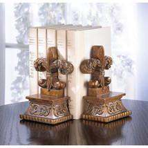 Classic Centuries Old Symbol Fleur De Lis Bookends Desk Table Book Shelf - £12.07 GBP