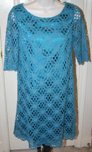 JAX Women's Teal Turquoise Crochet Floral Dress $138 Size 8 Lined 3/4 Sleeves - $49.99