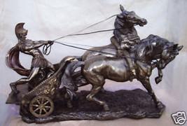 "Greek Large Roman Chariot (Bronze) 26"" Statue - $455.70"