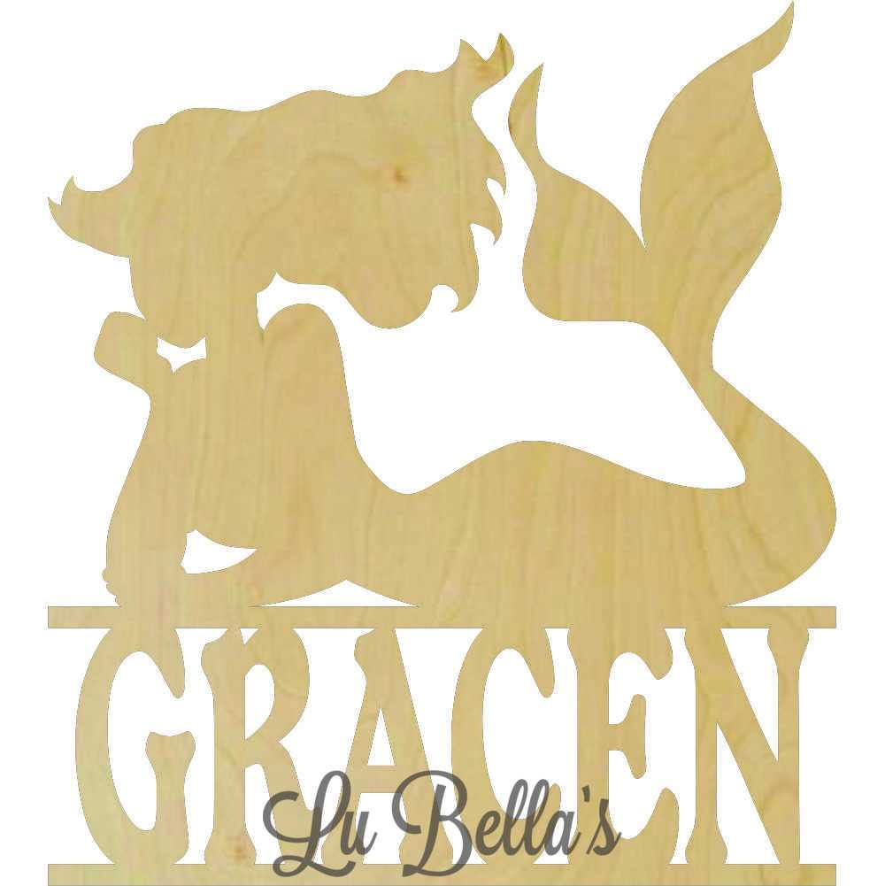 Wooden Mermaid Cut Out with Name and 50 similar items