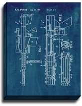 Self-unlocking Device For Recoiling Gun Patent Print Midnight Blue on Canvas - $39.95+