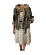Vintage THREE RIVER FURS L/XL gray curly Persian lamb mink swing jacket ... - $116.82