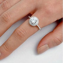 Sterling Silver ring size 7 CZ Round cut Engagement Wedding Bridal Halo New x01 - $12.54