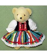 "BRASS KEY Imagination Bear Jointed Plush Tan TEDDY 11"" Colorful Festive ... - $9.50"