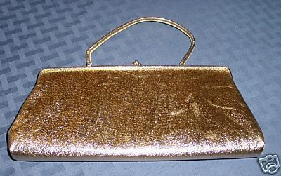 Vintage GOLD metallic evening clutch handbag purse bag Bonanza