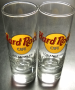 Hard Rock Cafe Los Angeles Shot Glass Tall Style Set of Two Clear Glass ... - $14.99
