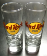 Hard Rock Cafe San Francisco Shot Glass Tall Style Set of Two Clear Glas... - $14.99