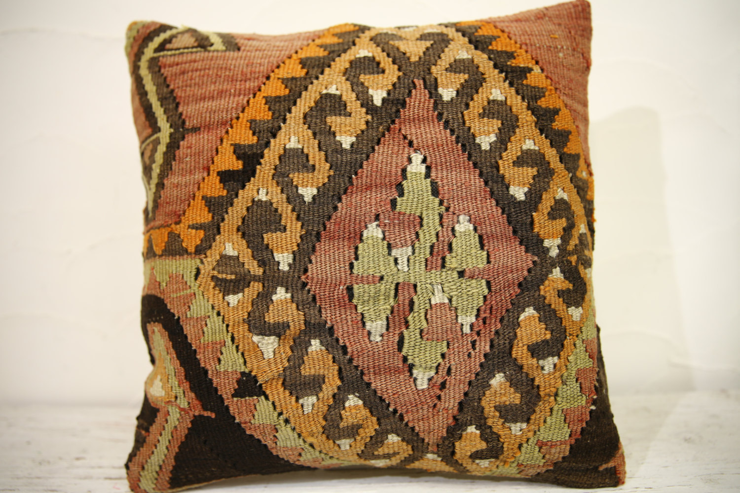 Kilim Pillows | 16x16 | Turkish pillows | 1109 | Ethnic Pillow , Kelim cushion ,