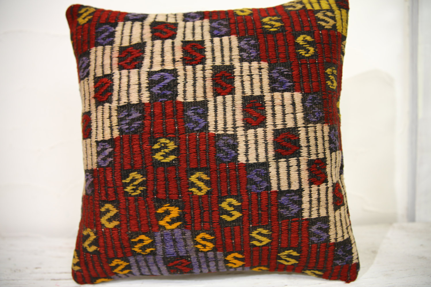 Kilim Pillows | 16x16 | Turkish pillows | 1041 | Ethnic Pillow , Kelim cushion ,