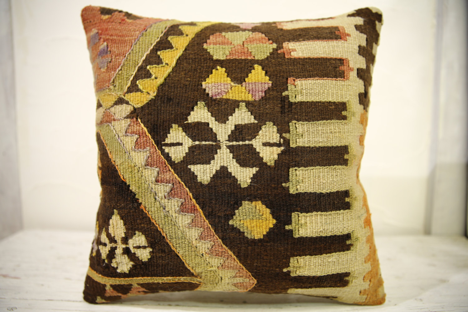 Kilim Pillows |16x16 | Decorative Pillows | 606 | Accent Pillows , turkish pillo
