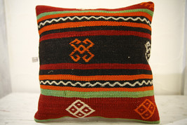 Kilim Pillows |16x16 | Decorative Pillows | 593 | Accent Pillows , turki... - $35.00