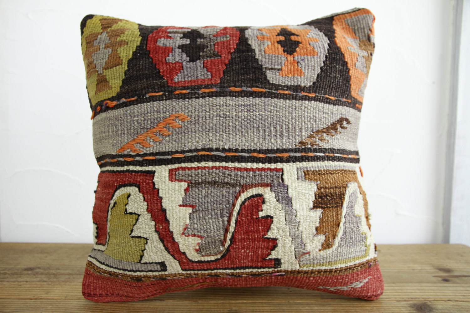 Kilim Pillows |16x16 | Decorative Pillows | 166 | Accent Pillows, Kilim cushion