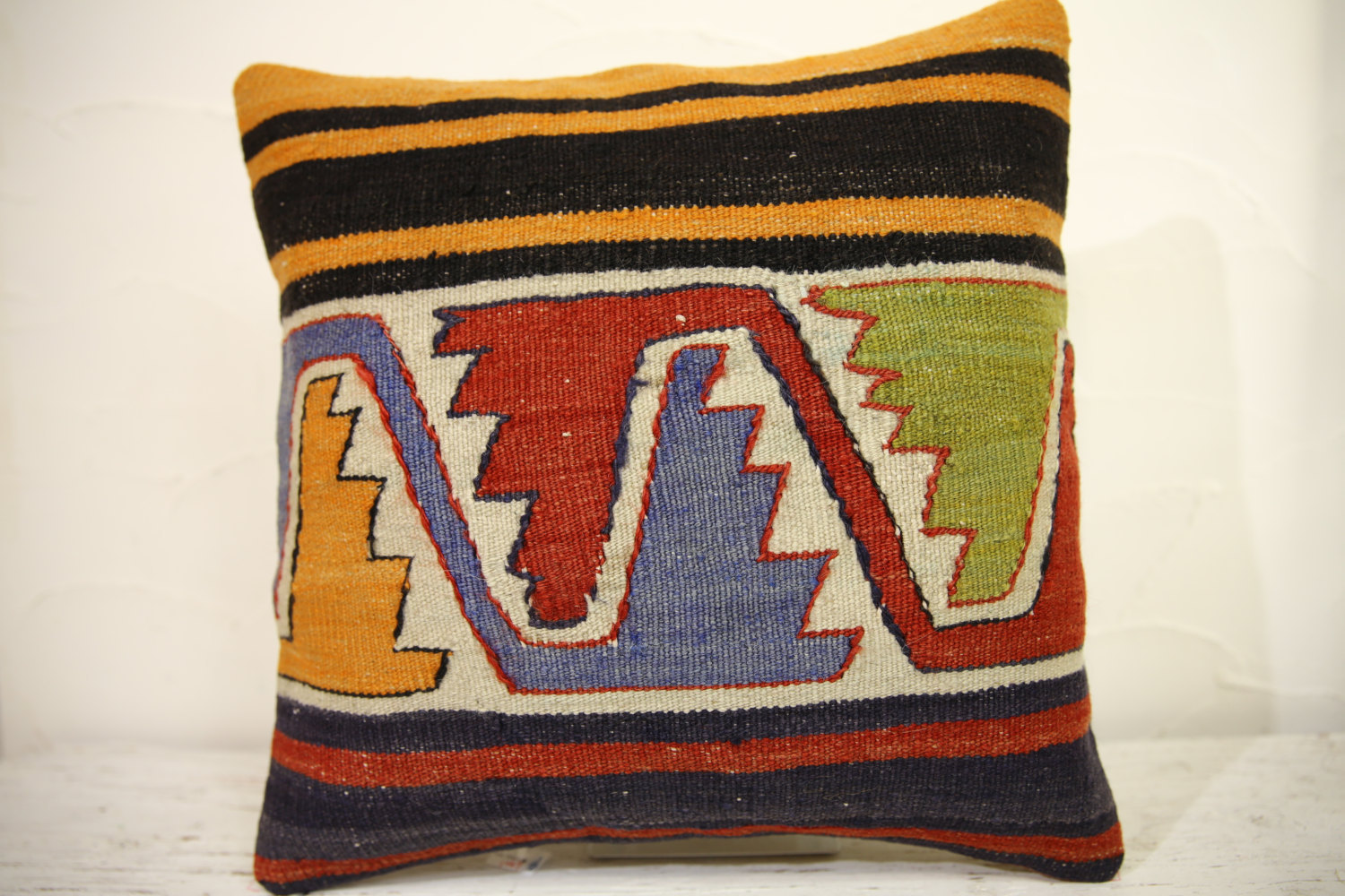 Kilim Pillows | 16x16 | Turkish pillows | 1067 | Ethnic Pillow , Kelim cushion