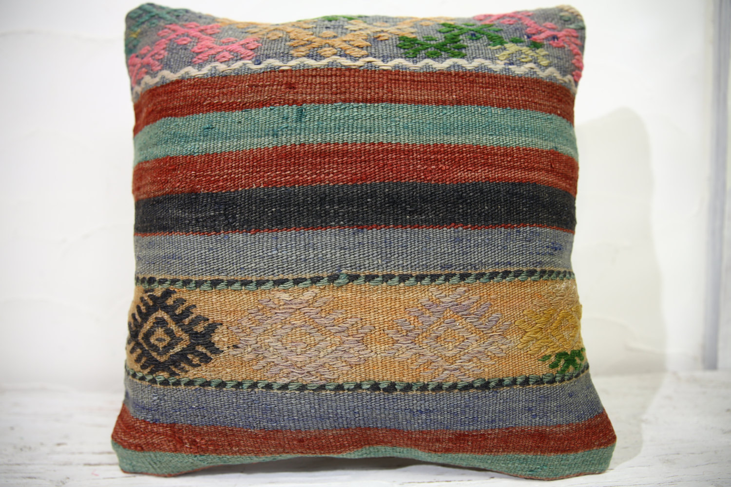 Kilim Pillows | 16x16 | Turkish pillows | 1042 | Ethnic Pillow , Kelim cushion