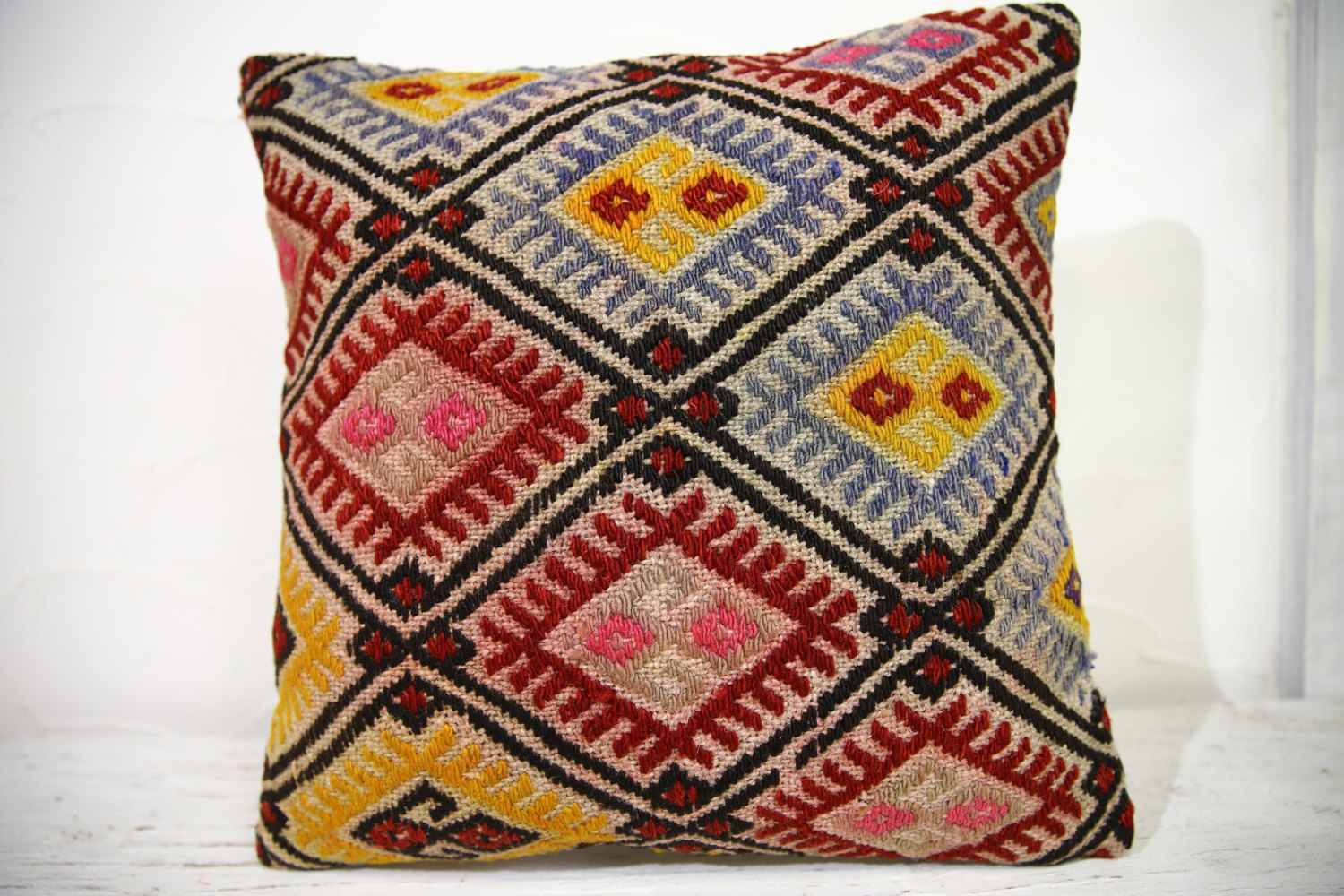 Kilim Pillows | 16x16 | Turkish pillows | 1038 | Ethnic Pillow , Kelim cushion